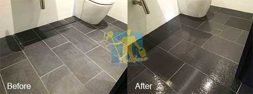 bathroom black porcelain tiles before and after cleaning and sealing