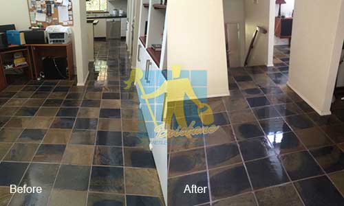 before and after cleaning  and sealing travertine floor tiles Brisbane