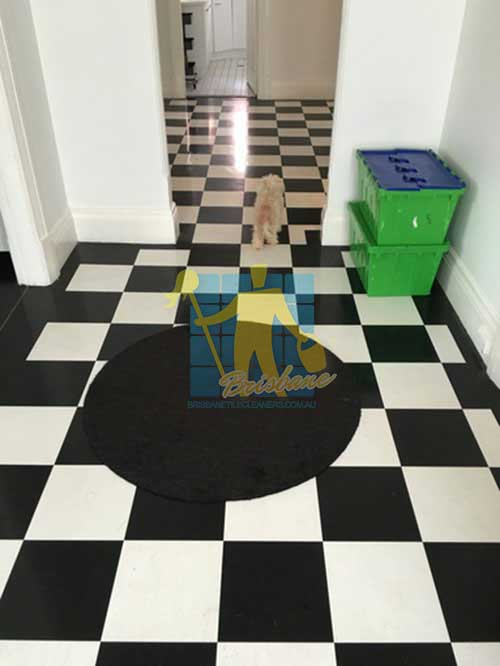 Karana Downs black and white marble floor after cleaning