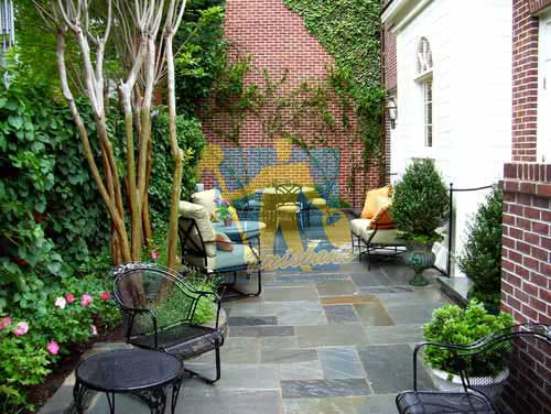 Brisbane bluestone tiles outdoor backyard with furniture