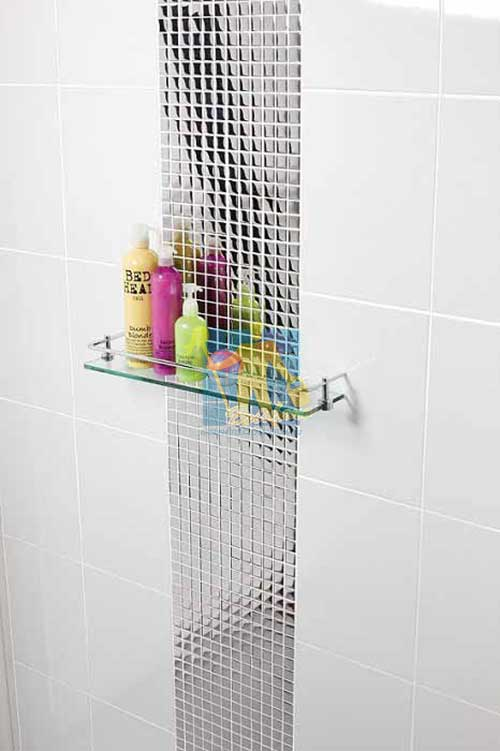 ceramic tile in shower flat gloss white with designer pattern