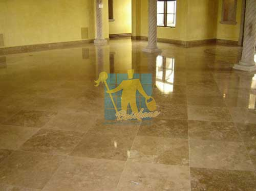 high gloss travertine tile floor Brisbane