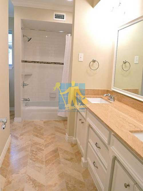 polished travertine bathroom floor Brisbane