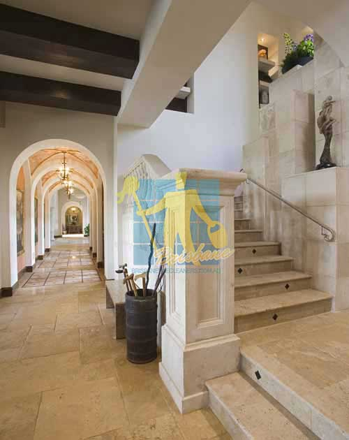 spanish style mediterranean staircase with natural marble tiles porous Brisbane