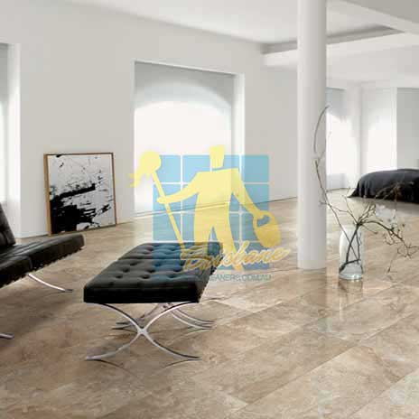 modern living room with textured rectangular porcelain tiles on floor
