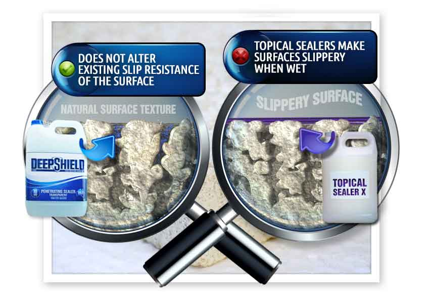 difference between deepshield and topical sealers for offices grout sealing